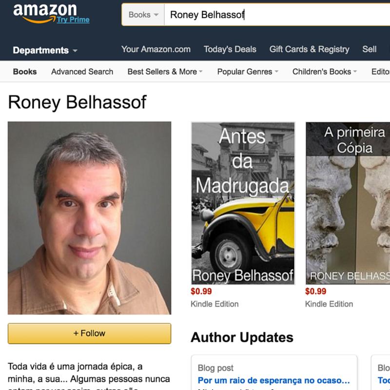 Página inicial dos livros e contos na Amazon