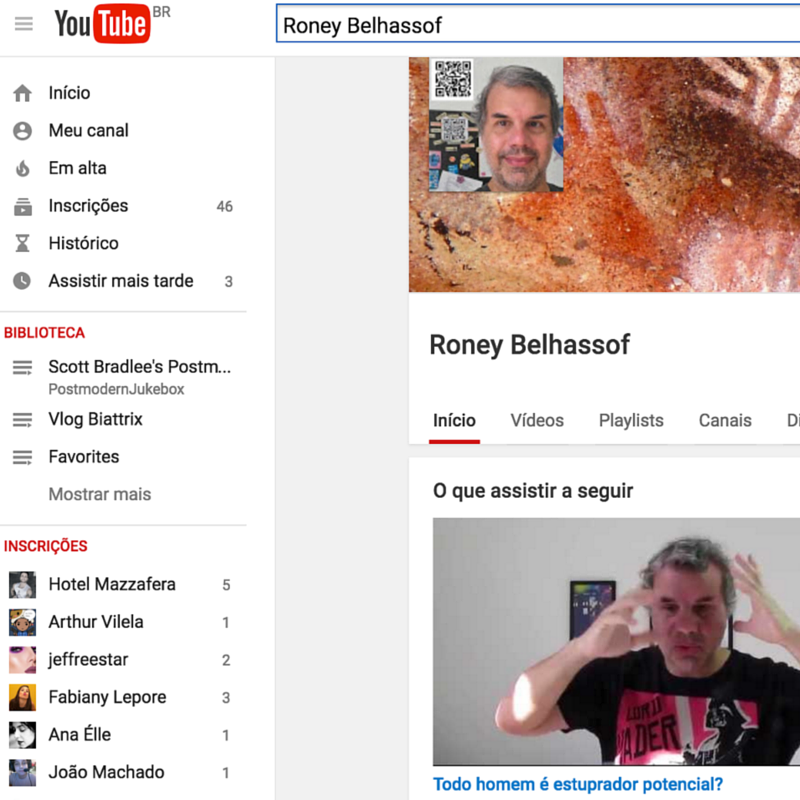 página de abertura do canal Roney Belhassof no Youtube