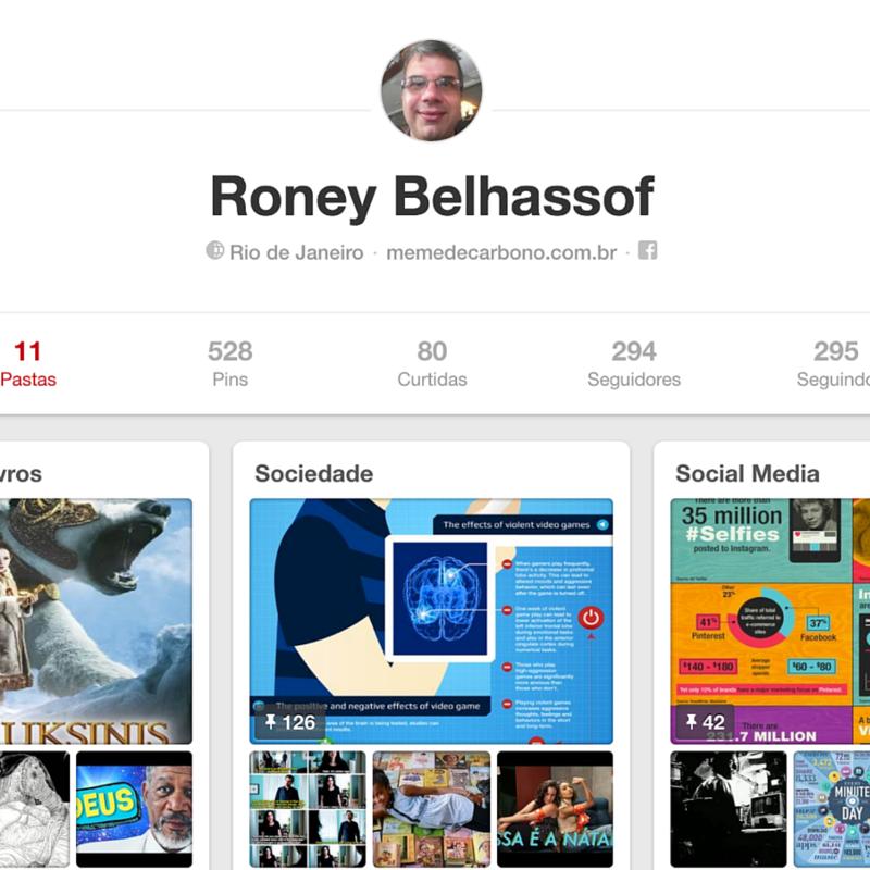 Página inicial do perfil no Pinterest
