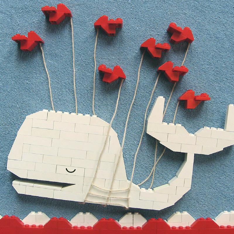 A famosa baleia do Twitter, construída em peças de Lego