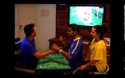 Friends help deaf blind man experience world cup match