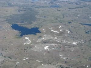 Lago onde animais buscam água