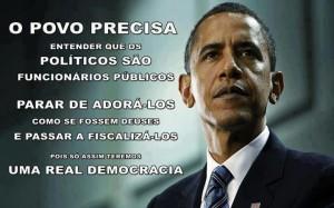 Imagem de Obama e texto sobre democracia participativa