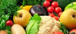 Alimentos vegetais de várias cores