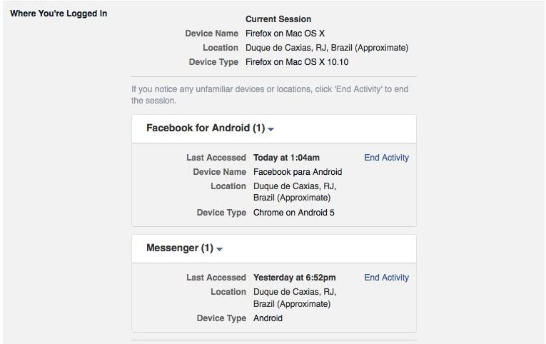 Segurança do login no Facebook