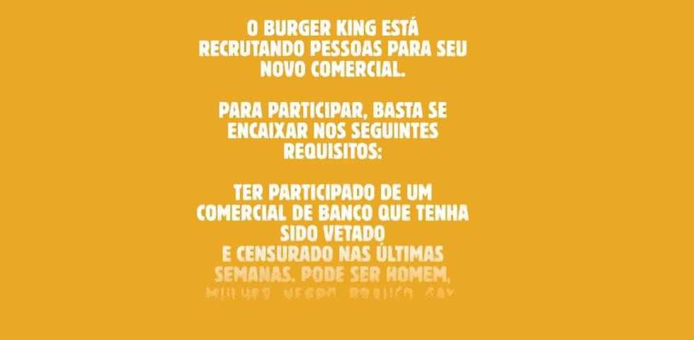 Burger King convoca elenco de comercial vetado – PropMark